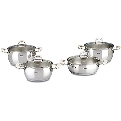 Hisar 9 Piece Monaco Stainless Steel Cookware Set Ivory