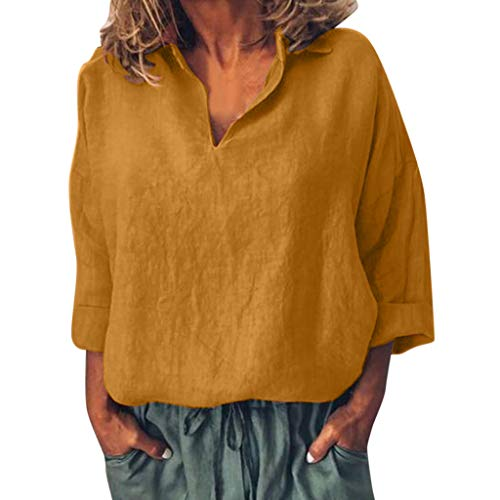 (TUSANG Women Tees Casual Solid Cotton Blouse Long Sleeve Comfy Tunic Loose Top Shirt Tee(Yellow,US-6/CN-M))