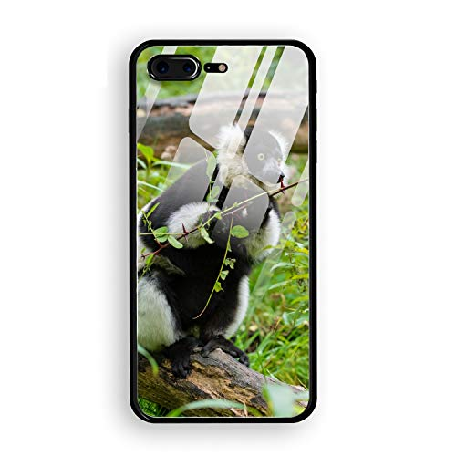 (Ruffed Lemur Astonishment Branches Printed iPhone 7/8 Plus Cover Anti-Fingerprint Hard Tempered Glass Compatible for iPhone 7/8 Plus Case 5.5