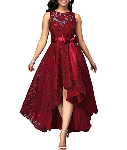 PYL Women's Lace Sleeveless Round Neck Maxi Dress Hi-Lo Formal Cocktail Party Swing Long Dress Red