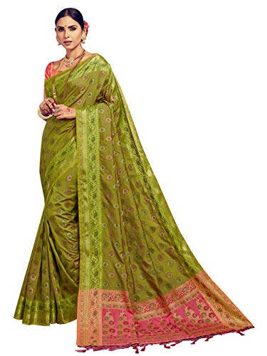 Sarees for Women Banarasi Kanjivaram Art Silk Woven Saree l Indian Ethnic Wedding Gift Sari with Unstitched Blouse Olive - Green Art Olive Silk