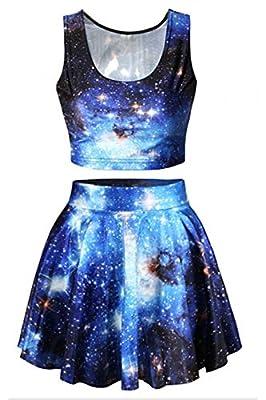 Abby Berny Womens Galaxy Print Crop Tank Top Skater Skirt Set Halloween Costume