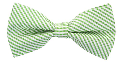 Checkered Plaid Silk Bow Ties for Men - Bow Tie - Green and White -