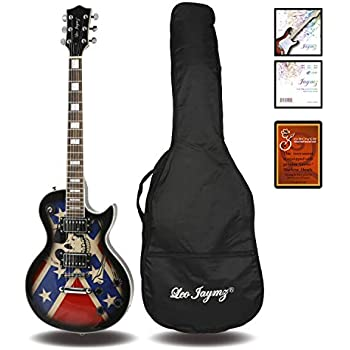 Leo Jaymz Single cut curved top GROVER machine heads Electric guitar full size with flag sticker design with high gloss color, include soft bag and extra ...