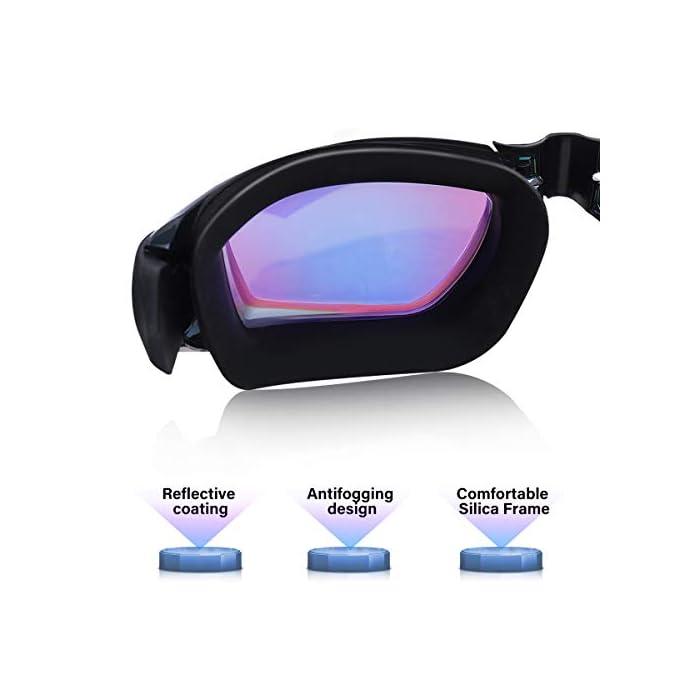 【Nuevo Diseño Ergonómico Sin Fugas】 - Las gafas de natación SGODDE están hechas de almohadilla de silicona de alta calidad con diseño sísmico con doble sellado. Gafas con un diseño ergonómico en 3D para garantizar una forma adaptada a la cara, un sello perfecto alrededor de los ojos, sin fugas, lo que le permite concentrarse y disfrutar de la mejor experiencia de natación sin fugas. Nuestras gafas de natación con gorro de baño impermeable, diseñadas para el cabello cómodamente. 【Diseño de Nariz Super Comfort y Correas Elásticas】- El sello de silicona ultra suave y el diseño en forma de X en el puente de la nariz proporcionan una comodidad extrema que no oprime el puente de la nariz y nunca daña la nariz. La diadema está hecha de silicona flexible y elástica, con clips ajuste fácil para ajustar la longitud a la forma de su cabeza. Fácil de poner y quitar sin tirar del cabello. 【Diseño Antivaho y de Visión Amplia】 - La superficie interna de la lente de gafas de natación SGODDE adopta la última tecnología de protección ambiental en el tratamiento antivaho, mejora la capacidad antivaho de la lente del máscara de natación para darle una visión larga y clara bajo el agua. Las gafas de natación están diseñadas con lentes más anchas para que pueda tener una visión periférica sin distorsiones y una experiencia de natación más segura