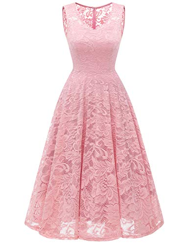 Meetjen Women's Cocktail V-Neck Dress Floral Lace Tea-Length Bridesmaid Party Dress Midi Pink XS
