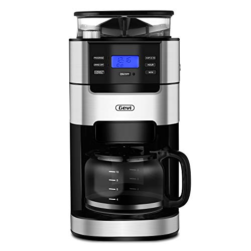 10-Cup Drip Coffee Maker, Grind and Brew Automatic Coffee Machine with Built-In Burr Coffee Grinder, Programmable Timer Mode and Keep Warm Plate, 1.5L Large Capacity Water Tank, Removable Filter Basket, 1100W, Black