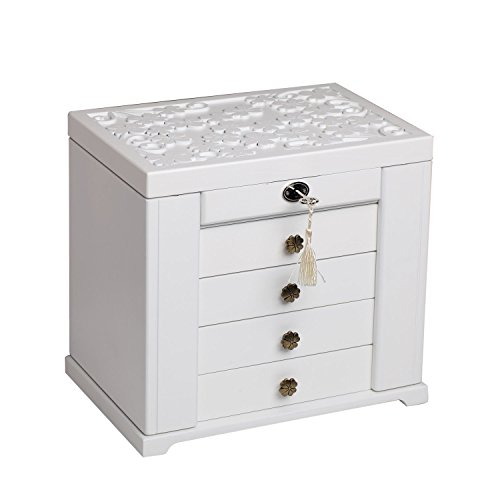 Extra Jewelry (Extra Large Wooden Jewelry Box / Jewel Case Cabinet Armoire Ring Necklacel Gift Storage Box Organizer Mg002 (WHITE-2))