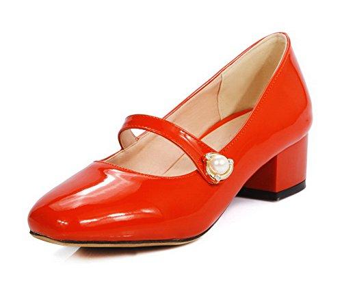 AllhqFashion Damen Quadratisch Zehe Ziehen auf Eingelegt Niedriger Absatz  Pumps Schuhe Orangerot