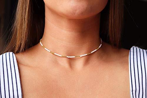 Dainty Beaded Choker • Seed Bead Choker • White and Gold Choker • Gold Beads • Seed Beads • Gold • White Choker • Minimalist (Necklace Choker Bead)