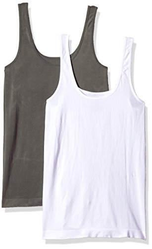 Carole Hochman Ladies 2-pack Scoop Neck Tank, Small, White/Charcoal