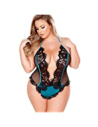 Womens Lingerie Plus Size Deep V Eyelashes Bodysuit Valentine's Day Sleepwear Zulmuliu