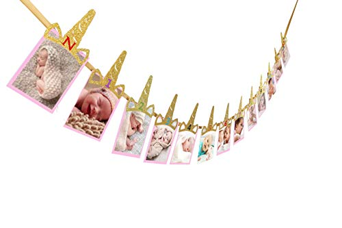E&L Unicorn Horn Photo Banner, 1st Birthday Baby, Sweet Heart First Birthday Photo Banner, for First Birthday Party Decorations, Monthly Milestone Photo Banner, Justborn to 12 Months Photo Banner]()