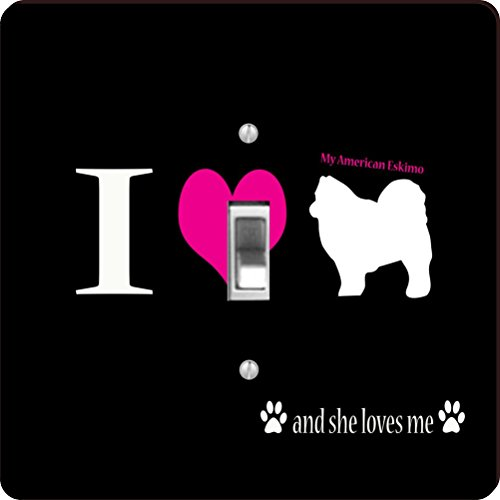 -8482 I Love My American Eskimo Dog Design Light Switch Plate Cover ()