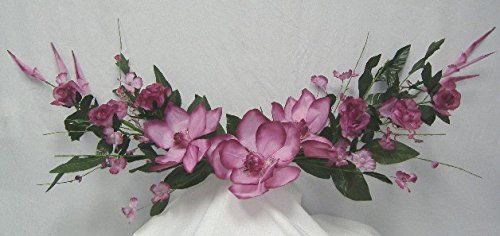 58'' Giant Magnolia Rose Swag Artificial Silk Wedding Home Party Flowers Decoration BA2387 Mauve