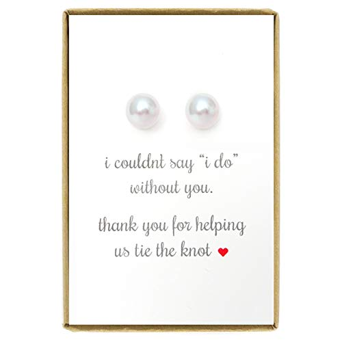 Bridesmaid Gifts Pearl Earrings, White Stud Pearl Earrings, Bridesmaid Earrings, Bridal Party Gifts for Bridesmaids