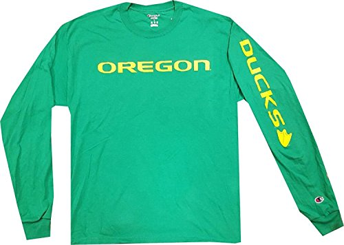 Oregon Ducks Long Sleeve Shirt Champion Wordmark Kelly Green Shirt (Small)