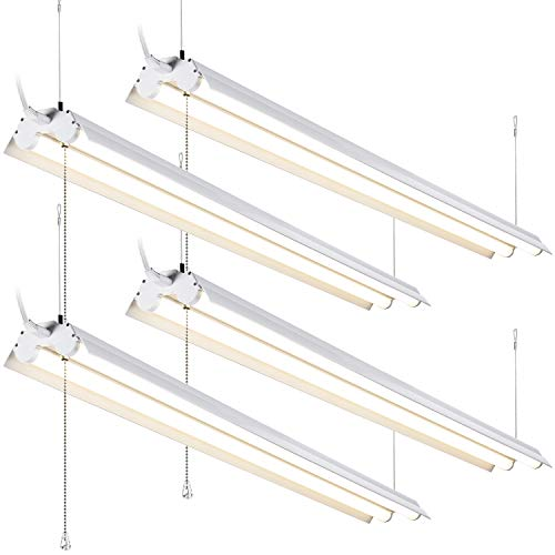 Suspend Switch - LEONLITE 4 Pack 4ft Linkable LED Shop Light, 2-Tube T8 LED, ETL & Energy Star Certified, 40W (120W Equivalent), 4000K Cool White, Pull Chain Switch Included, for Workbenches, Garages