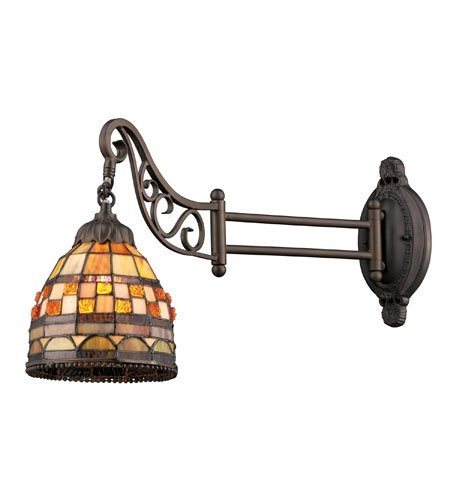 Wall Sconces 1 Light LED with Antique Bronze Finish Amber Scavo Glass 16 inch 13.5 Watts - World of Lamp (Burnt Leaf Sconce Gold)