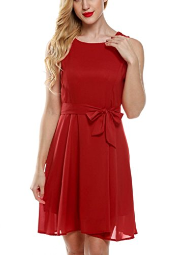 OURS Women's Summer Sleeveless Chiffon Pleated Cocktail Party Dress With Belt (M, Deep Red)