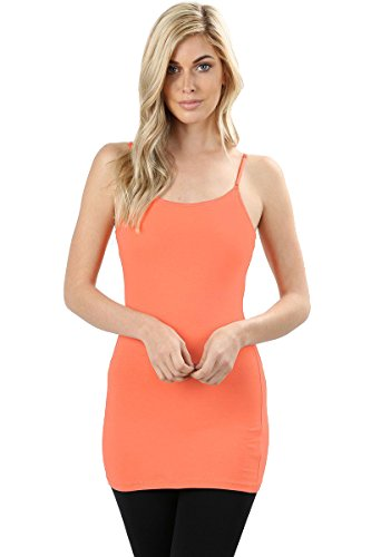 Orange Bra Straps - 3001 Women's Long Tank Camisole Top with Adjustable Spaghetti Straps and Built-in Self Bra (Deep Coral, Medium)