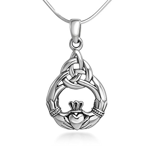Irish Claddagh Pendant - Chuvora Sterling Silver 20 mm Celtic Knot Claddagh Friendship Endless Love Symbol Pendant Necklace 18''