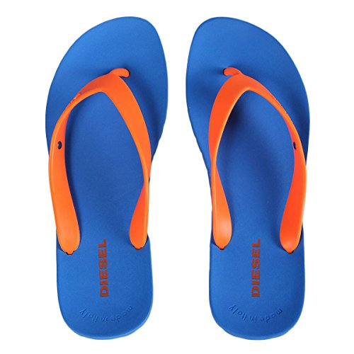Sandalias de playa Diesel para hombre, sandalias de tiras, zapatillas, Plaja Splish - azul / naranja