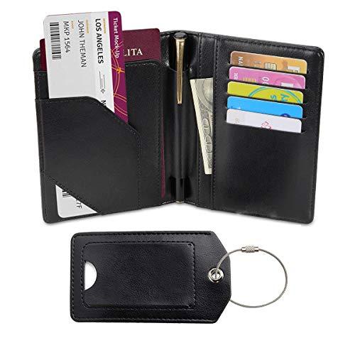 Passport Holder with Luggage Tag, Leather RFID Blocking Bag, Travel Wallet Travel Passport Organizer