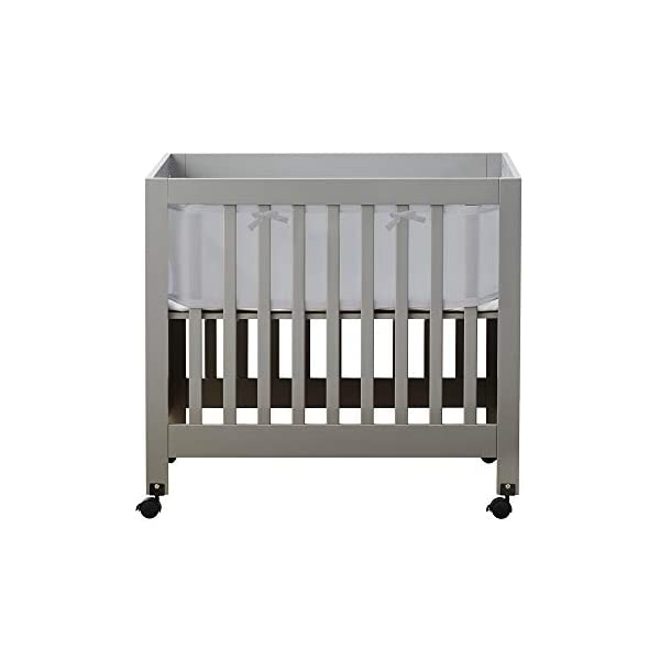 BreathableBaby Classic Breathable Mesh Mini Crib Liner, Patented, Safer for Baby, Anti-Bumper, Non-Padded – Gray