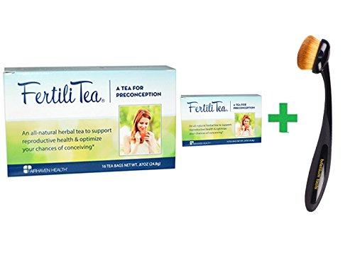 Fertilitea Tea (Fairhaven Health, FertiliTea for Women, 16 Tea Bags, .87 oz (24.8 g)( 2 PACK )+ Bdellium Tools, Studio Series, Face 950, Oval Multi-Purpose, 1 Brush)