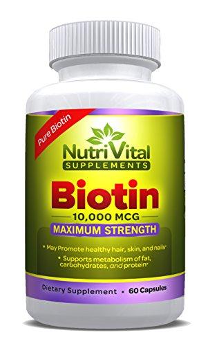 Biotin 10000 MCG by NutriVital Supplements, Vegetarian Capsule, Maximum Strength, Pure Vitamin Supplement for Hair, Skin, and Nails