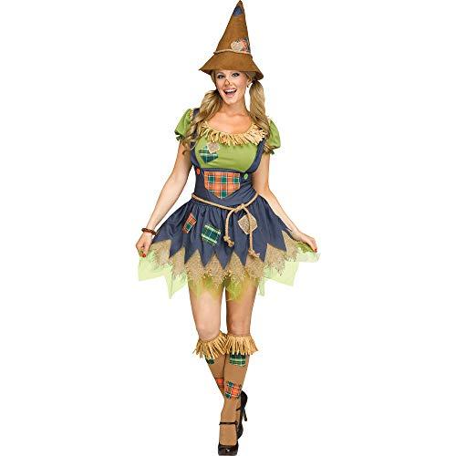 Fun World Cute Scarecrow 4pc Women Costume, Small/Medium 2-8, Green Blue Brown