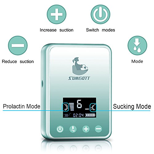 Electric Breast Pump - Breastfeeding Pump Rechargeable Milk Saver Digital LCD Display Dual Silicone Breast Pumps (Blue) by SUMGOTT (Image #3)