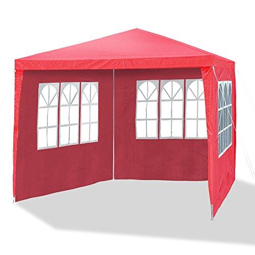 JOM 127136 Gartenpavillon 3 x 3 m, Durchmesser 24/18 mm, inklusive 4 Seitenwände, 3x Fenster, 1x Tür mit Reisverschluss, Material PE 110G, Metallgestänge beschichtet, Kunststoffverbinder, Wasserdicht, Heringe und Seile, rot