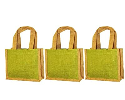 """Pack of 3 - Small gift bag with handles Jute burlap bag with jute handles colors with natural size 10""""W x 9""""H x 3"""" bags in bulk Eco-friendly Reusable Bag - CarryGreen Bags"""