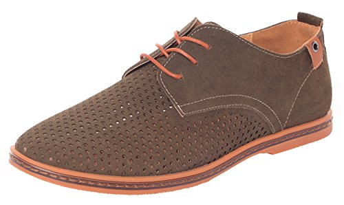 Serene Mens Summer Fashion Lace Up Suede Leather Cutout Breathable Casual Oxfords Khaki XEDRtQ