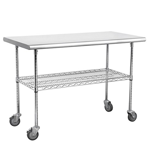 Royal Gourmet Commercial Stainless Steel with 4 Caster Wheels Work Table, 48 L x 24 W