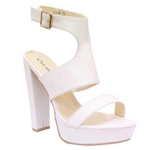 Ladies Women High Heel Open Toe Cutout Mid Platform Gladiator Sandals Shoes Size White Lizard Leather Chunky Cutout C0fsM5o