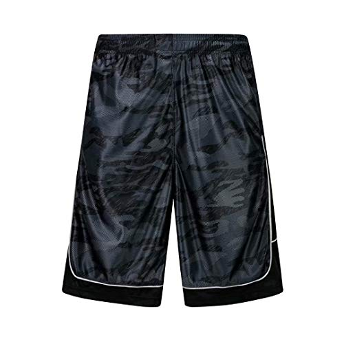 HQUEC Men's Camo Basketball Shorts Long Gym Workout Sport Shorts with Side Pockets Darkgrey/C1 M
