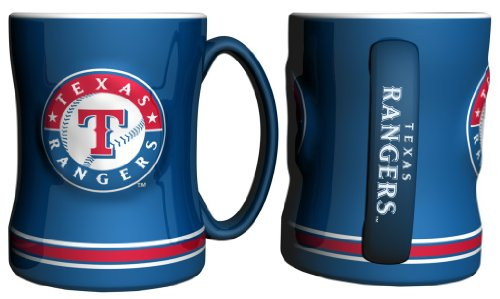 Rangers Mug Coffee (Texas Rangers Coffee Mug - 14oz Sculpted Relief - Blue)