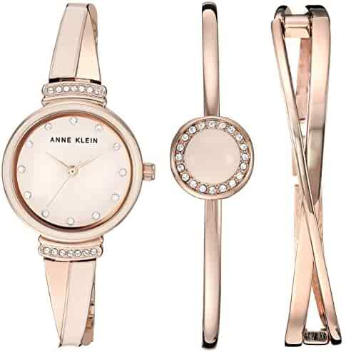 Anne Klein Women's AK/3292LPST Swarovski Crystal Accented Rose Gold-Tone and Blush Pink Watch and Bangle Set