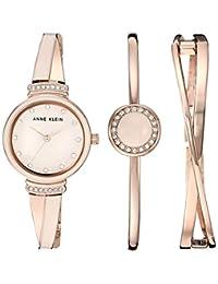 Anne Klein Set de reloj y pulsera con cristales Swarovski para mujer, Oro rosa/Rosado