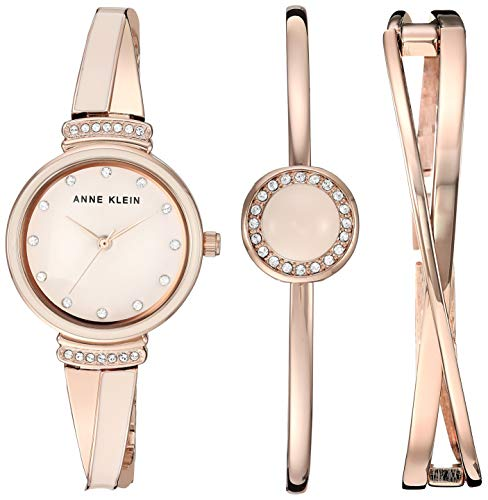 (Anne Klein Women's AK/3292LPST Swarovski Crystal Accented Rose Gold-Tone and Blush Pink Watch and Bangle Set)