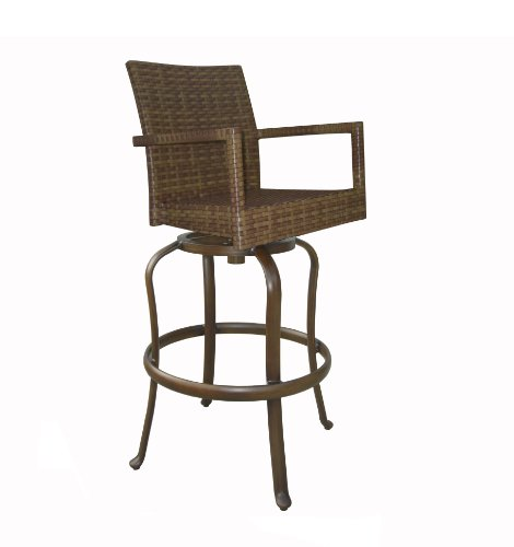Panama Jack Outdoor St. Barths Swivel Barstool, (Contemporary Woven Leather Bench)