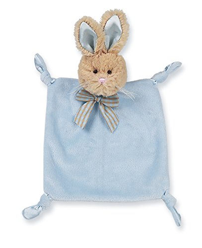 Bearington Baby Wee Bunny Tail, Small Blue Bunny Stuffed Animal Lovey Security Blanket, 8