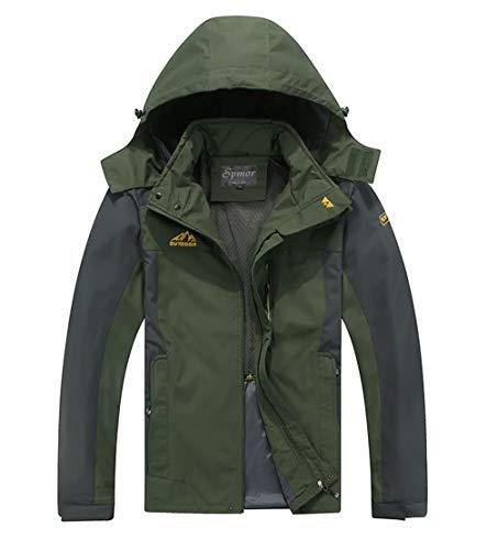 Spmor Men's Outdoor Sports Hooded Windproof Jacket Waterproof Rain Coat Army Green Medium ()