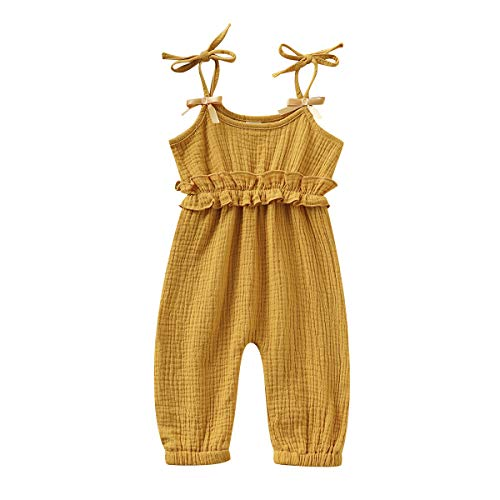 Kids Newborn Infant Baby Boys Girls One Piece Romper Clothes Jumpsuit Ruffled Halter Bodysuit Yellow