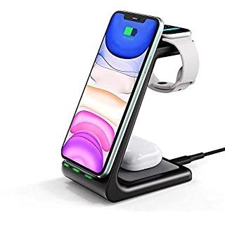 ThunderB 3 in 1 Charging Station for Apple Products - Wireless Charger Compatible with iPhone11/11 Pro Max/XR/XS Max/XS/X/8/8P, AirPods Pro, 2, 1 and iWatch (iPhone, Black)