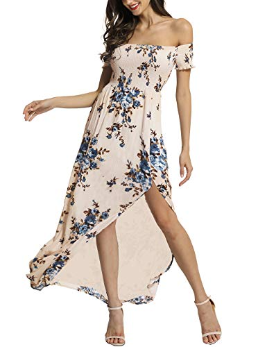 (Azalosie Women Off Shoulder Maxi Dress Maternity Floral Short Sleeve Empire Waist Slit Dress Summer Party Beach)