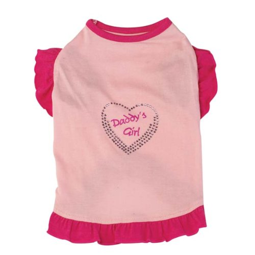 Zack & Zoey Polyester Cotton Daddy's Girl Apple of My Eye Dog Tee, X-Small, Pink